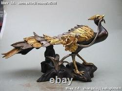 Chinese 100% pure bronze 24K Gold Silver carved Phoenix Peacock Royal Statue