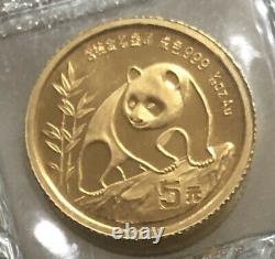 Chinese 5 Yuan 1990 5 Yuan Panda 1/20 oz Gold Coin. 999 BU