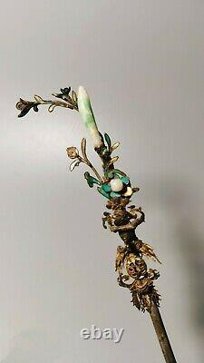 Chinese Antique Qing Gilt Silver Kingfisher Hair Clasp with Natural Jadeite