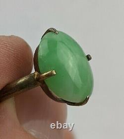Chinese Antique Qing / Republic Celadon Jade & Gilt Hallmarked Ring Adjustable