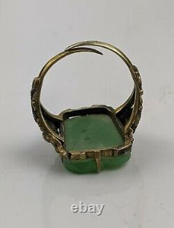 Chinese Antique Qing/ Republic Celadon Jade & Silver Gilt Dragon Ring Adjustable