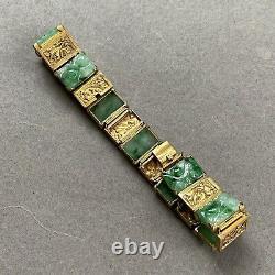 Chinese Antique Silver Gilt Green Hand Carved Jade Jadeite Bracelet