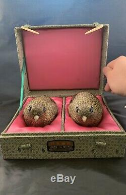 Chinese Antique Sterling Silver Box Quail Gold Gilt Pair Jewelry Box