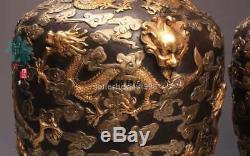 Chinese Bronze 24K Gold Silver-Gilt Dragon cloud bottle pot Palace Vase Pair