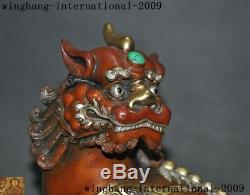 Chinese Bronze 24k gold Gilt-silver turquoise Foo dog unicorn Pixiu beast statue