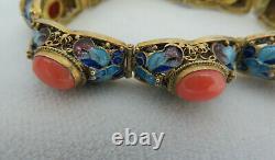 Chinese Coral & Enamel Sterling Silver / Gold Vermeil Filigree Bracelet