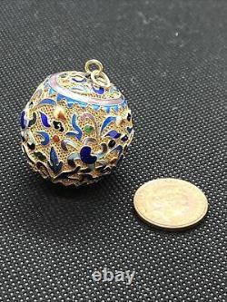 Chinese Cultural Revolution Large Silver Gilt Cloissone Enamel Ball Pendant