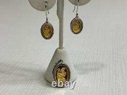 Chinese Dragon 999.9 Gold Coins in Sterling Silver Earrings & Pendant Bezel Set