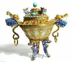Chinese Dragon Urn Gold Gilt 925 Sterling Silver Filigree Jewels Jade Bowl