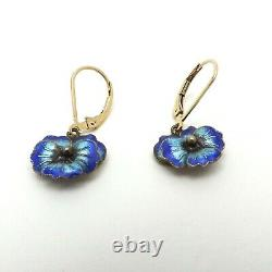 Chinese Enamel Cloissone Sterling Silver 14k Gold Filled Pansy Leverback Earring