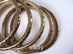 Chinese ExportSterling Silver Gold Gilt Floral Bangle BraceletsLot of 5