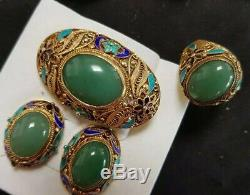 Chinese Export 1940's Cloisonne Enamel Sterling Silver Gilt Jade Bracelet Ring
