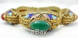 Chinese Export Asian Carnelian Enamel Gold Vermeil Sterling Silver Bracelet Vntg