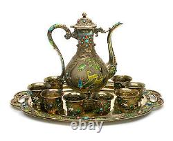Chinese Export Gilt Silver Enamel Turquoise and Coral Wine Tea Set, Early 20th C