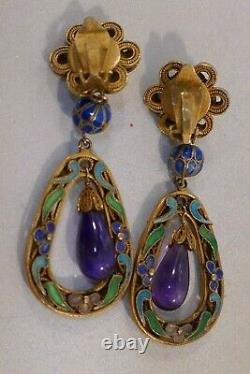 Chinese Export Gilt Silver & Enameled Drop / Dangle Earrings With Natural Amethyst