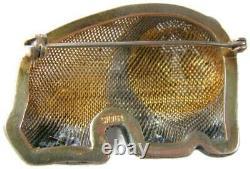 Chinese Export Gold over Sterling Silver Filigree & Enamel Panda Brooch Pendant