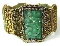 Chinese Export Green Jade Link Panel GILT FILIGREE Bracelet Marked China Silver