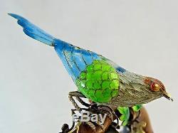 Chinese Export Silver Gilt Enamel Miniature Bird Statue Figurine Outstanding