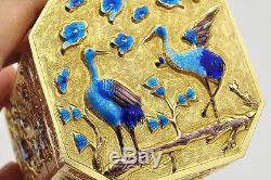 Chinese Export Silver Gold Gilt Enamel Box / Tea Caddy