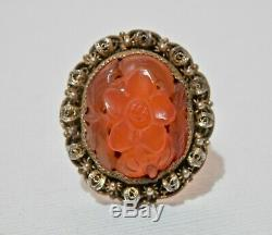 Chinese Export Silver Ring Red Carnelian Carved Filigree Adjustable Gold Gilt