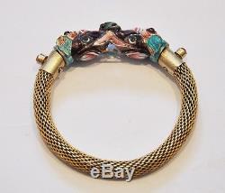 Chinese Export Silver-gilt Enamel Bracelet Jewelry China Dragon Elephant