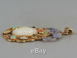 Chinese Exquisite Handmade bird silver Gilt Hetian jade Pendant