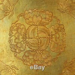 Chinese Exquisite Handmade flower Carving silver Gilt plate