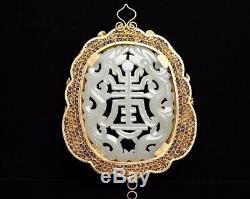 Chinese Exquisite Handmade silver Gilt mosaic Hetian jade Pendant
