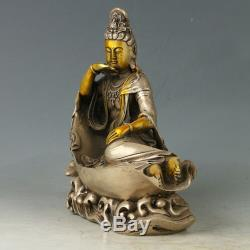 Chinese Exquisite Silver Copper Gilt Carved Kwan-yin Buddhism Statue