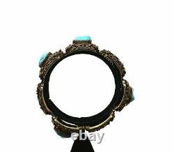 Chinese Gilt 800 Silver Filigree Turquoise Bead Bracelet Bangle Calligraphy