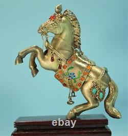 Chinese Gilt Silver 925 Figure of a Horse withGarnets Turquoise Emerald 20th C