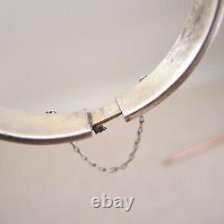 Chinese Gilt Silver Cloisonne Bangle Bird Flower Bracelet Enamel Antique Hinged