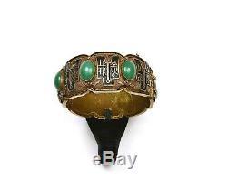 Chinese Gilt Silver Enamel Chrysoprase Carved Cabochon Bangle Bracelet NOT JADE