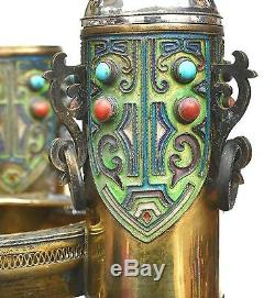 Chinese Gilt Silver Enamel Smoking Set Ashtray Turquoise Coral Carved Bead 456g