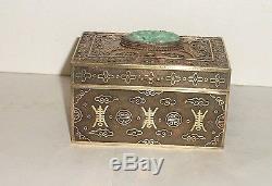 Chinese Gilt Silver Filigree Apple Green & White Jade Humidor Box