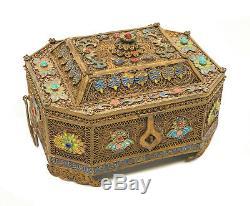 Chinese Gilt Silver Filigree Enamel & Semi-Precious Stone Tea Caddy Box, c1900