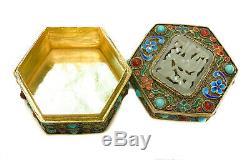 Chinese Gilt Silver Filigree Enamel & Semi-Precious Stone Tinket Box
