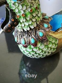 Chinese Gilt Silver Filigree Enamel with turquoise gemstone duck Box