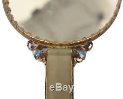 Chinese Gilt Silver Filigree Jade, Amethyst, and Enamel Hand Mirror, circa 1910