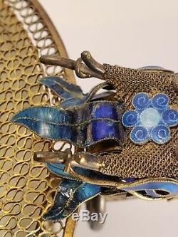 Chinese Gilt Silver Filigree & Jade Enameled Censer Turquoise Carnelian Dragons