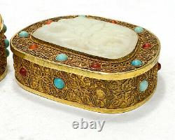Chinese Gilt Silver Filigree Jade and Applied Cabochon Jeweled Box
