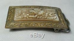 Chinese Gilt Silver Hand Carved Mother of Pearl DRAGON BELT BUCKLE