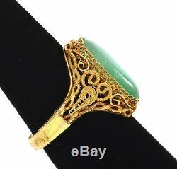 Chinese Gilt Silver Jade Jadeite Carved Carving Cabochon Adjustable Ring Mk