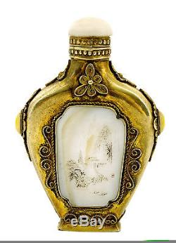 Chinese Gilt Silver Mother of Pearl Inlay Snuff Bottle Chirography Scrimshaw