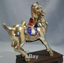 Chinese Gilt Silver Sterling Enamel & Turquoise Figure of a Horse 20th Century