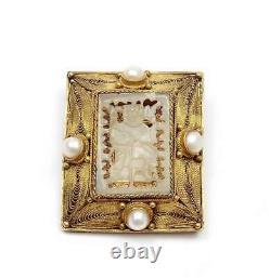 Chinese Gilt Solid Silver Filigree Serpentine Pin Brooch Pendant NOT JADE
