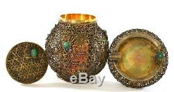 Chinese Gilt Sterling Silver Enamel Basket Box Humidor Ashtray Chrysoprase Crab