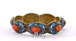 Chinese Gilt Sterling Silver Enamel Coral Carved Carving Cabochon Bracelet Mk