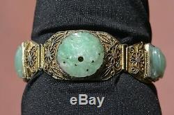 Chinese Gilt Sterling Silver Filigree Jade Jadeite Carved Carving Bracelet Mk
