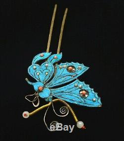 Chinese Gilt Sterling Silver Kingfisher Feather Hair Hat Pin Hairpin Butterfly